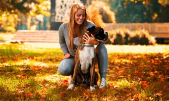 A blonde woman in athletic gray clothing is holding her brindle and white boxer on an autumn day in the park.