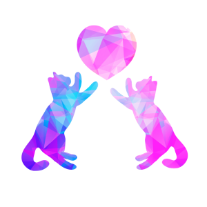 Abstract geometric art showing two cats pushing up a heart design with purple, lavander, blue used on a white background.