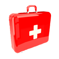 A shiny, bright red pet emergency kit with a white medical cross on the front.