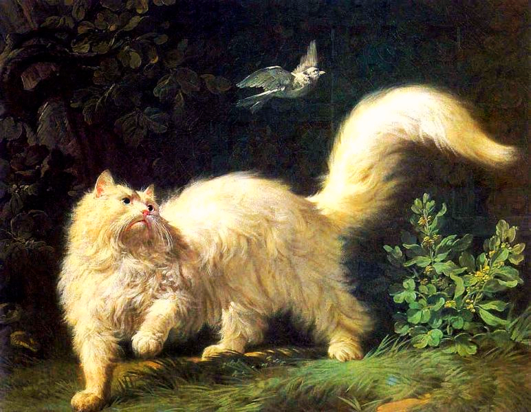 A French oil painting of a white Angora cat about ready to chase a flying bird in a garden venue.