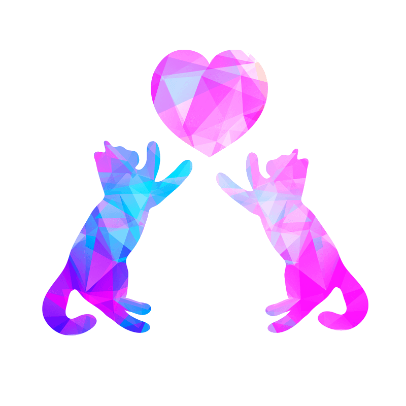 Two abstract kittens colored in angular blue and purple are batting at a magenta colored heart above them.