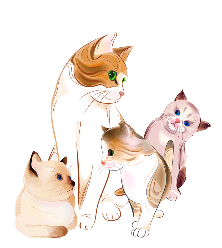 A colored drawing of a mother cat surrounded by three of her offspring.